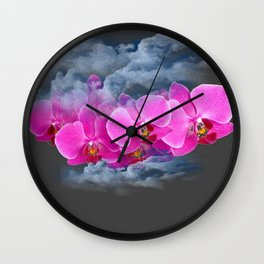FUCHSIA ORCHIDS CLOUDY WEATHER GREY ART Wall Clock