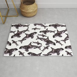 Watercolor Orca's Rug