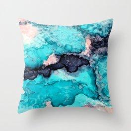 Aqua edges Throw Pillow