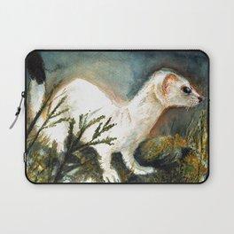 Winter stoat watercolor Laptop Sleeve