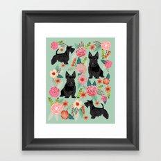 Scottish Terrier florals pet portrait dog lover gifts for scottie dog owners Framed Art Print