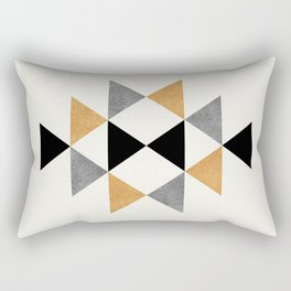 Aztec Graphic - Gold Gray Rectangular Pillow
