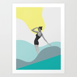 Swimmer Collage Art Print