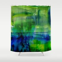 amy pond Shower Curtains featuring Pond by ariesmoon
