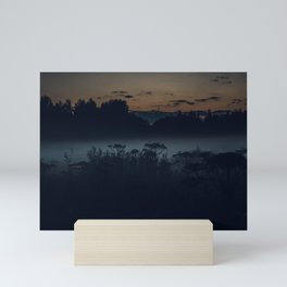 [34] Fog in the evening forest, nature, travel, night Mini Art Print