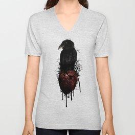Raven and Heart Grenade Unisex V-Neck