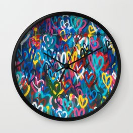 Graffiti Hearts Love (Color) Wall Clock