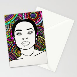 Girl with Patterns Stationery Cards
