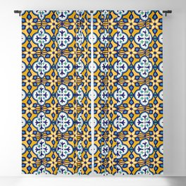 Yellow and Blue Moroccan Tile Blackout Curtain