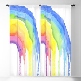 Rainbow Watercolor Dripping Colors Blackout Curtain