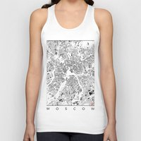 moscow Tank Tops featuring Moscow Map Schwarzplan Only Buildings by City Art Posters