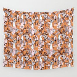 Tropical Floral Pelicano Orange Wall Tapestry