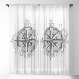 Black and White Scrolling Compass Rose Sheer Curtain