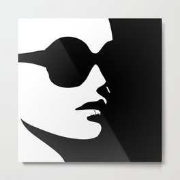 Profile of a lady in a trendy eye wear Metal Print