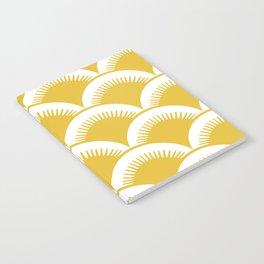 Japanese Fan Pattern Mustard Yellow Notebook