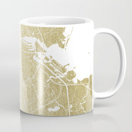 Amsterdam Gold on White Street Map Coffee Mug