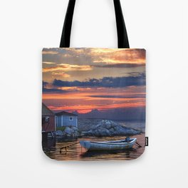 Last Light at Peggy's Cove Harbor Tote Bag