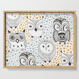 Owls Being Owls Serving Tray