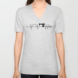 Sewing Heartbeat Dark Unisex V-Neck