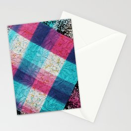 Artsy geometrical teal pink black watercolor lace Stationery Cards