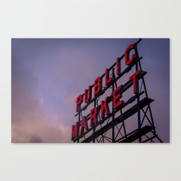 Pike Place Neon Sunrise Canvas Print