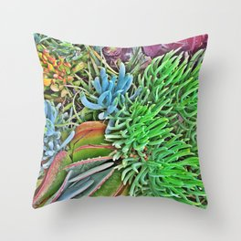 Neon Succulents Throw Pillow