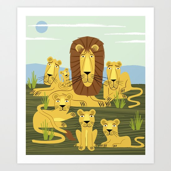 The Laid Back Lions Art Print