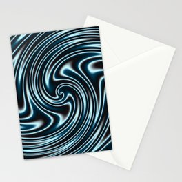 Blue and Black Licorice Ribbon Candy Fractal Stationery Cards