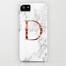 Monogram rose gold marble D iPhone Case
