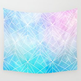 Geometric White Pattern on Watercolor Background Wall Tapestry