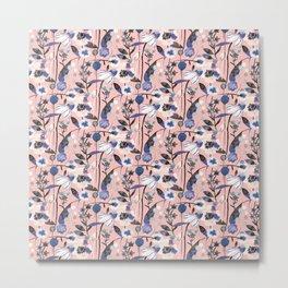 Pastel spring flowers pattern Metal Print