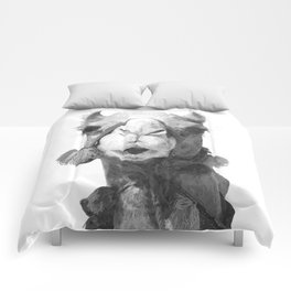 Black and White Camel Portrait Comforters