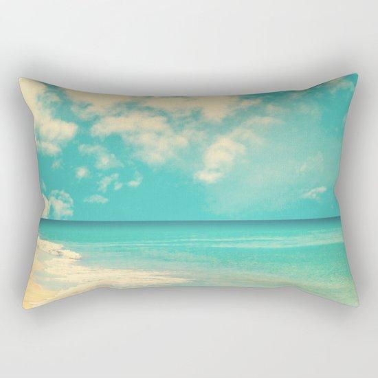 Waves of the sea (retro beach and blue sky) Rectangular Pillow