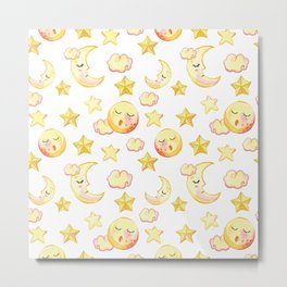 Yellow pink  watercolor dreamy stars moon sun pattern Metal Print