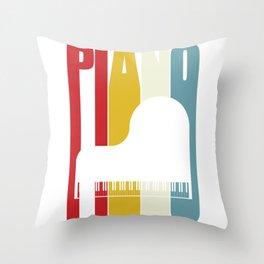Grand Piano Retro 70s 80s Clavier Pianist Gift Throw Pillow
