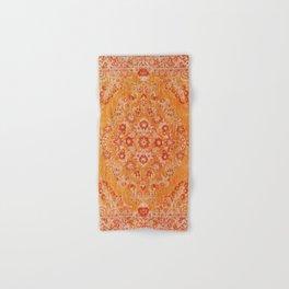 Orange Boho Oriental Vintage Traditional Moroccan Carpet style Design Hand & Bath Towel