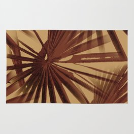 Burgundy and Coffee Tropical Beach Palm Vector Rug