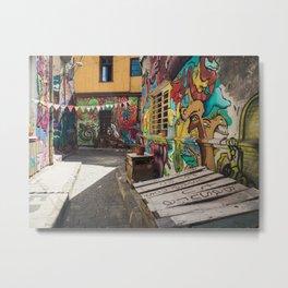Street art and graffiti in Valparaiso, Chile Metal Print