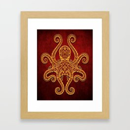 Intricate Red and Yellow Octopus Framed Art Print