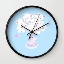 Kawaii Tree Clouds Wall Clock