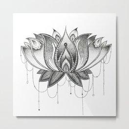 Zentangle Lotus Mandala Metal Print