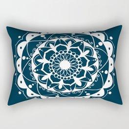 Zen white mandala on dark blue Rectangular Pillow
