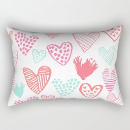 Hearts hand drawn heart pattern valentines day love gifts home decor hipster girls Rectangular Pillow