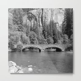 Ahwanee Bridge on the Merced River in Yosemite Valley, with the Triple Arches in the background Metal Print