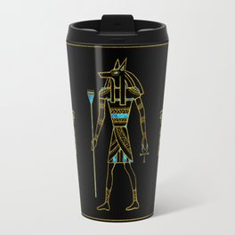 Anubis Egyptian  Gold and blue stained glass Travel Mug