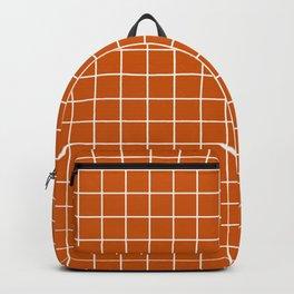Burnt orange - orange color - White Lines Grid Pattern Backpack