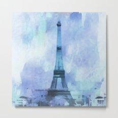 Blue Eifel Tower Paris France abstract painting Metal Print