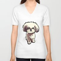 shih tzu V-neck T-shirts featuring Alice (Shih Tzu) by BinaryGod.com