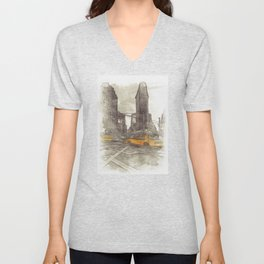 NYC Yellow Cabs Flat Iron Building - SKETCH Unisex V-Neck