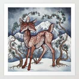 Winter Fawn Art Print